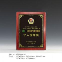 金银箔实木奖牌 服务态度积极表彰奖牌 人寿公司监督部授予奖牌